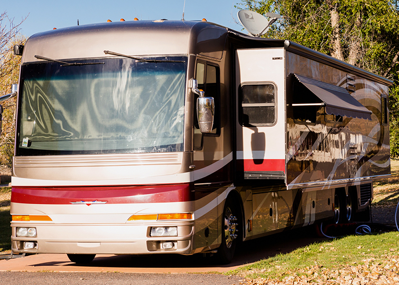 Class A RV motorhome seen after rv inspection services were preformed