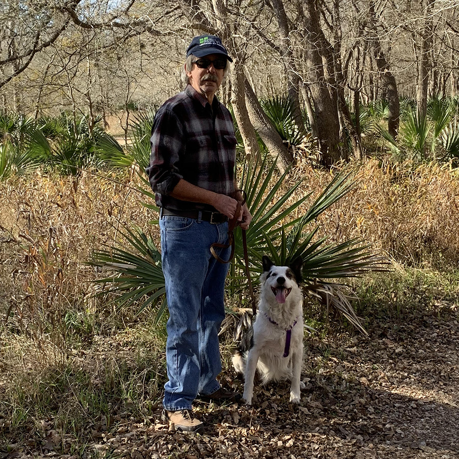 John Davis, one of our RV inspectors, with his dog Ceili