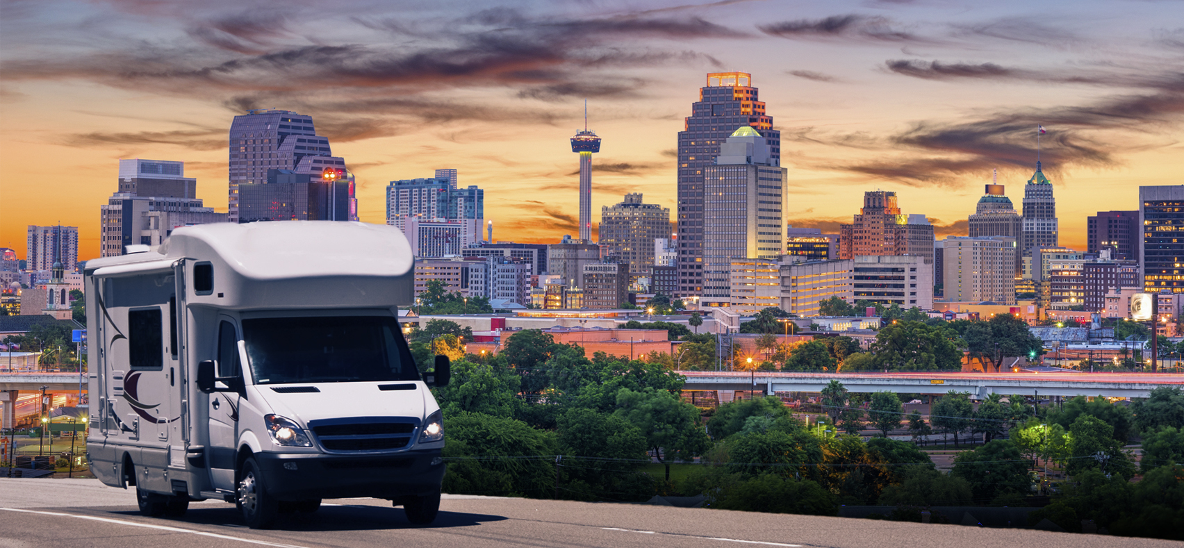 Recreation vehicle camper van driving out of San Antonio Texas after an RV Inspection