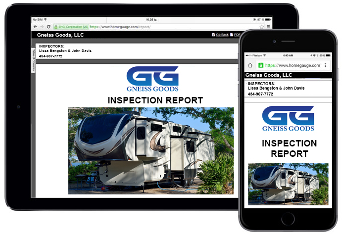 Tablet and smartphone screen showing online rv inspection reports online