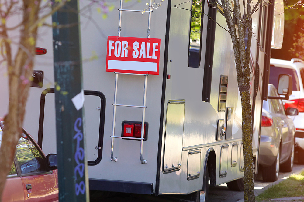 Motorhome for sale parked on the street seen while preforming rv inspection services